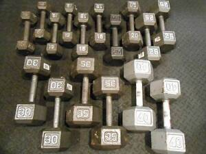 Dumbbell set: 5 - 40 Lbs { 5 Lbs increments } with rack.
