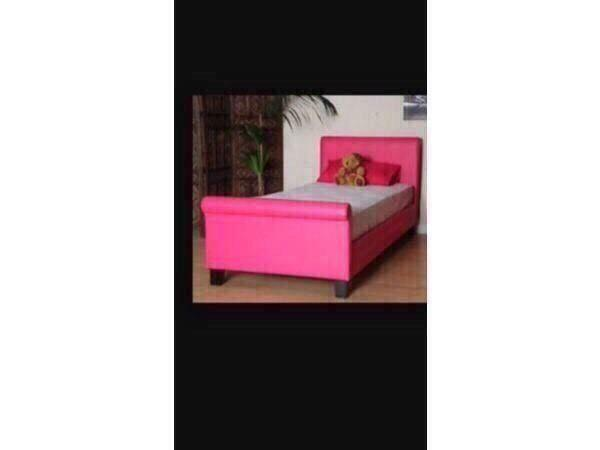 Single Leather Sleigh Bed Pink Leather Sleigh Bed Single