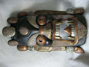 RARE LARGE NEPAL TIBET GILDED CEREMONIAL MASK