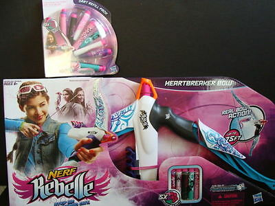 New Nerf Rebelle Heartbreaker Bow   Dart Refill Pack Girls Blaster Blue Vine Nib