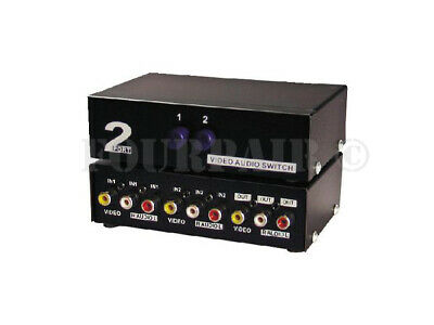 2-Port RCA Composite Video Audio AV 2-Way Switch Selector Switcher Splitter -