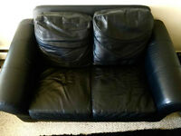 Real Black Leather Love Seat