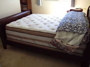 Like new bed frame + mattress + box, Queen size