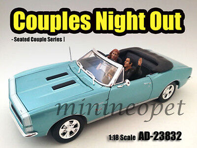 AMERICAN DIORAMA 23832 SEATED COUPLE 2 PIECE FIGURE SET FOR 1/18 DIECAST CAR
