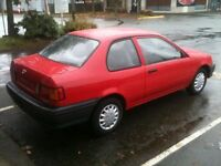 1998 Toyota Tercel CE Coupe, fresh saftied, only 103,000 km