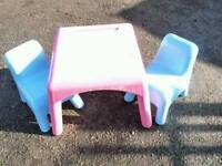 Elc children's table snd chairs