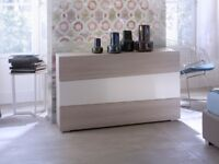 Contemporary Asymmetric Grey Gloss & Elm Chest of Drawers by MAB RRP £409.99 40% OFF