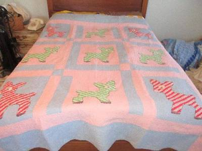 VINTAGE LARGE PINK & BLUE BABY QUILT EMBROIDERED LAMBS/ DONKEYS ADORABLE