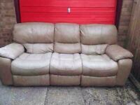 Leather 3 seater and 1 seater recliner sofas