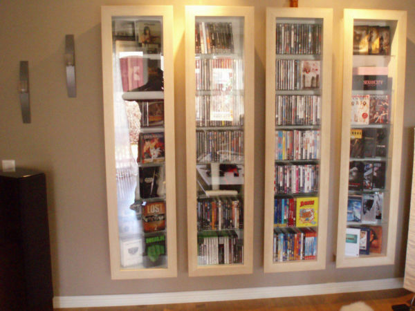Ikea bertby wall unit display case fantastic for dvd cd for Ikea display box