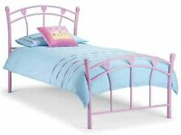 Next girls lilac metal love heart bed.