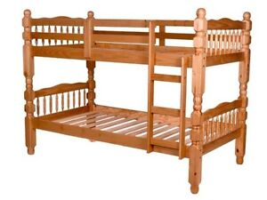 Spindle Solid Wood Pine Single Twin Bed & Mattress