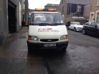 Ford transit Lwb recovery truck with winch ramps solid bed