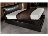BRAND NEW SINGLE OTTOMAN STORAGE LEATHER BED IN BLACK BROWN WHITE COLOURS AVAILABLE