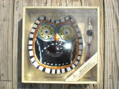 HAPPY HALLOWEEN BLACK OWL GLASS SERVING PLATTER BOWL CHEESE DIP SPREADER - Halloween Cheese Dip