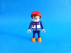 Playmobil-Nino-traje-esqui-azul-casco-rojo-boy-ski-suit-red-helmet-Junge-Ski