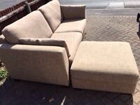 Furniture Village 3 seater sofa with large pouffe-Free delivery