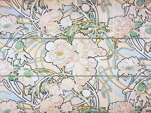 Art nouveau peonies alfons mucha ceramic mural backsplash for Art nouveau tile mural