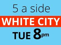 Tuesday 8pm Friendly 5 a side football at White City, Shepherds Bush needs players