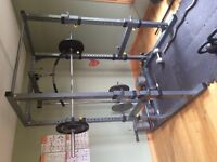 Full home gym setup- rack, bench + 750lbs of weight