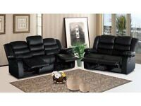 Roma Leather Recliner Sofas Black/Brown/Red --Free Delivery--