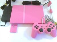 Pink sony ps2 slim line console