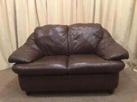 Brown Leather 2 Seater Sofa - Modern Small Leather Settee
