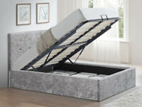 Double Silver Crushed Velvet Glitz Fabric Ottoman Bed Frame (Also Available in Single 3ft)