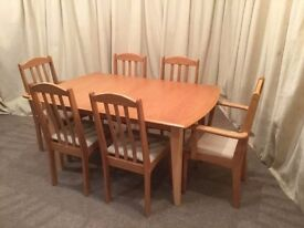 Table & 6 Chairs - Modern Light Wood Dining Set - Extendible