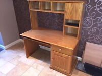 Pine Computer Desk With Storage In Very Good Condition - Free Delivery