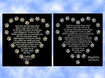 GOD ONLY TAKES THE BEST Pet Memorial Engraved Poem Plate Dog Cat Any (God Takes The Best Poem)