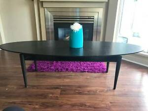 Ikea Oval Black Coffee Table (Mid-century Style) in Black Wood