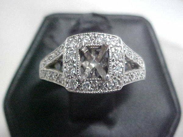 *ESTATE*VINTAGE STYLE*.56ctw SEMI MOUNT NATURAL DIAMOND RING 14K WHITE GOLD sz5
