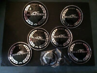 set of 7 new black ac schnitzer badges bmw e46 saloon coupe e90 hood boot wheels