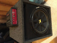 "12"" kicker subwoofer with pioneer amp 200 OBO"