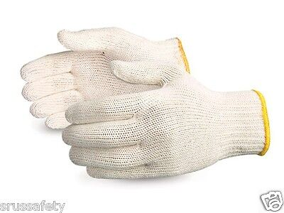 100 PAIR WHITE POLY COTTON STRING KNIT WORK GLOVES  -=US Seller=-