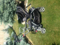 double stroller - sit and stand and able to hold baby bucket