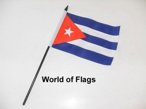 "CUBA SMALL HAND WAVING FLAG 6"" x 4"" Cuban Crafts Table Desk Top Display"