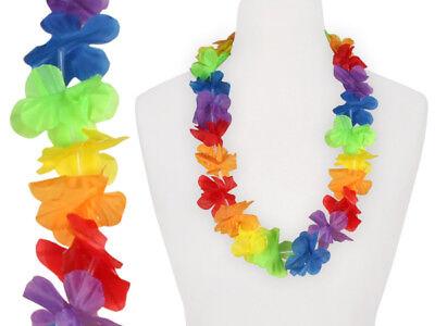 2 x Hawaiikette Blumenkette Textilblumen Regenbogen Hawaii Party bunt ca. 1 m