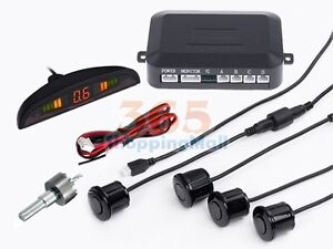 4 Parking Sensors LED Display Car Reverse Backup Radar System Kit Sound Alert