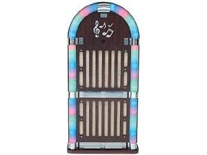 Sylvania Wooden Bluetooth Jukebox Speaker System with Multi Color Lights - SRCD806