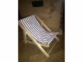 Build a bear factory original wooden toy deckchair with new ticking cover for doll or teddy bear
