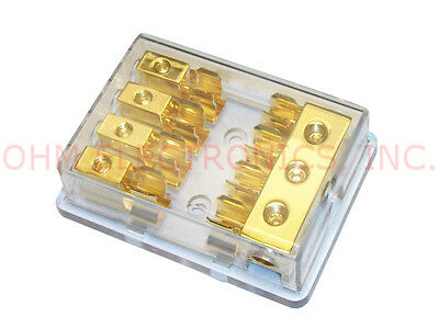 GOLD AGU FUSE/FUSED DISTRIBUTION BLOCK 4/8GA GAUGE AWG 3IN 4OUT CAR AUDIO FPD4