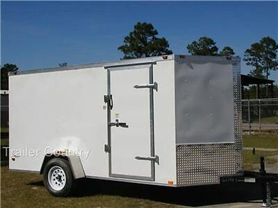 New 6x12 6 X 12 V-nose Enclosed Cargo Trailer W Ramp