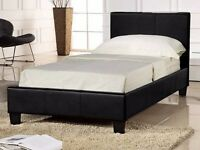 BRAND NEW ** High Quality Faux Leather Single Bed Frame Black / Brown Free Delivery