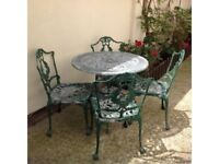 CAST ALUMINIUM GARDEN TABLE AND 4 CHAIRS