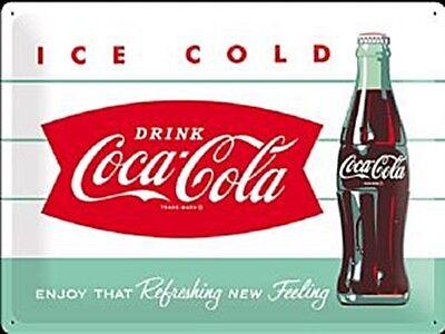 Coca Cola Ice Cold Botella Grande Relieve Letrero de Metal 400mm x...