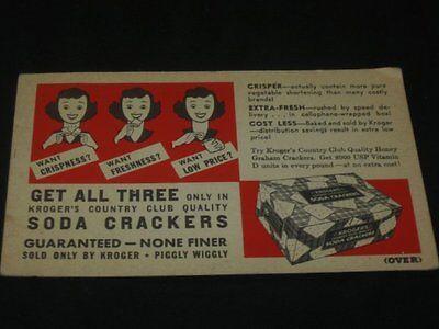 Vintage Kroger Grocery Store Advertising Soda Crackers Insert Retro Lady 1950S