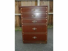 mahogany colour tall chest of drawers five drawer