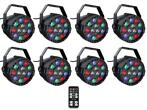 Ibiza Light 8x 12W RGBW LED PAR spots 3-in-1 wash effect DMX